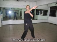 Paul practicing finger thrust in the Mirador Wushu Center